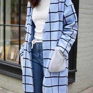 Coquette Baby Blue and Black Check Coat